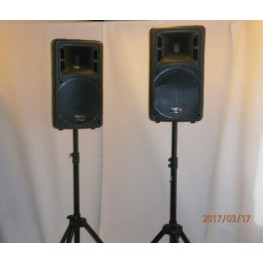 Højttalere inkl. mikrofon og -stativ